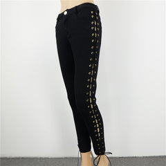 Autumn Side ripped bandage lace up low waist skinny pencil jeans Denim Pants