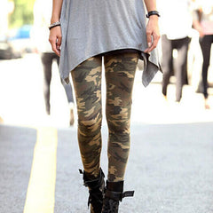 Summer Fashion Womens Graffiti Style Slim Stretchable Army Leggings