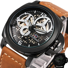 Men Luxury Casual Skeleton Automatic Mechanical Wrist Matte Watch