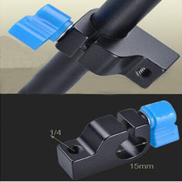 "1/4"" Thread Mount Rail Block Rod Clamp 15mm Rod DSLR Rig"