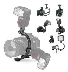 Adjustable C-Shape Two Flash Hot shoe Bracket Holder Mount Stand for  LED Video Light DSLR Camera
