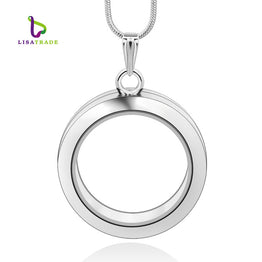 Magnetic Glass 30mm Round Floating Charm Locket Chain