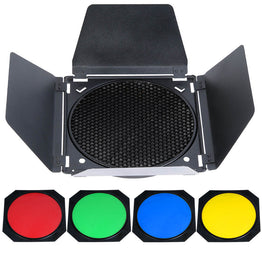 Door Barn Honeycomb Grid with 4 Color Gel Filter for Standard Reflector