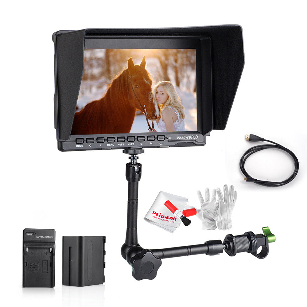 "7"" On-Camera HD IPS 1280x800 HDMI Monitor for BMPCC + 6600mAh Battery Kit +11"" Magic Arm for DSLR"