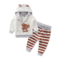 Casual Winter Sports Hoodie Sweatsuit Set for Kids