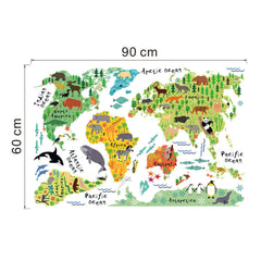 Vinyl Animal World Map Wall Sticker For Kids Rooms Bedroom Decor