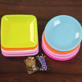 6 INCH Round & Square Plastic Snacks Plate