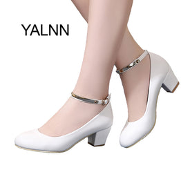 High Heels Round Toe Ankle Strap leather Pumps for Women