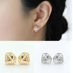 Crystal Rhinestone Hollow Gold / Silver Charming Studs for Women