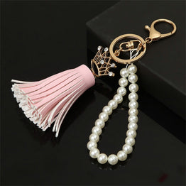 Creative Camellia Leather Tassels Ornaments Long Key Chain