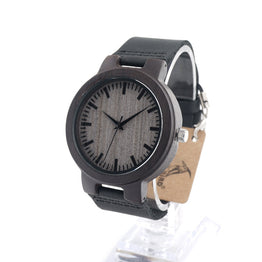 BOBO BIRD C-C26 Real Leather Band Wooden Couple Watch