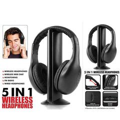 5in1 Wireless Audio-chat Headphone FM Radio Earphones With MIC