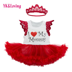 New Style Mother's Day Sleeveless Red Dress for Baby Girls