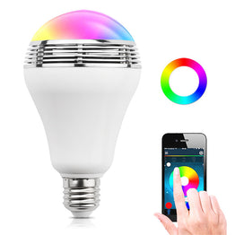 Colorful E27 3W Lamp APP enable Smart LED light Bulb with Wireless Bluetooth Speaker
