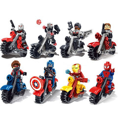 Avengers Super Heroes Motorcycle Building Blocks 8pcs/lot