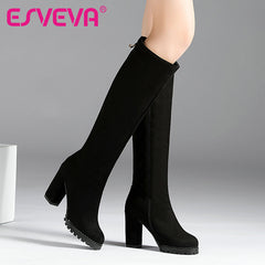 ESVEVA Knee High Winter Scrub Zipper Fashion Ladies Boots