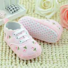 Soft Sole Flower Crib Cotton Lace-Up Infant Toddler Shoes
