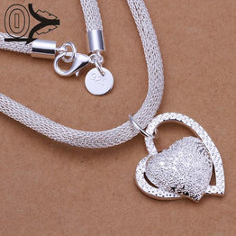 Inlaid Stone Heart Shape Silver Plated Necklace & Pendant