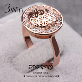 Rose Gold Plated Shining Crystal & Flower Printed Wedding Ring For Women