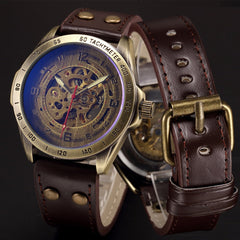 Automatic Steampunk Skeleton Mechanical Antique Watch for Men