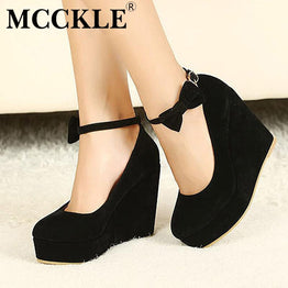 MCCKLE Fashion Buckle High Heels Wedges Casual Pump