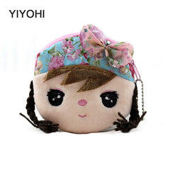 Beautiful Girl New Kawaii Cartoon Plush Coin Purse with Zip