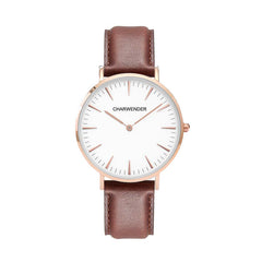 CHARWENDER Khaki Leather Band Quartz Movement Couple Watch