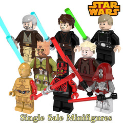 Obi Wan Kenobi Jedi Knight Luke Skywalker Palpatine With Lightsaber Building Blocks