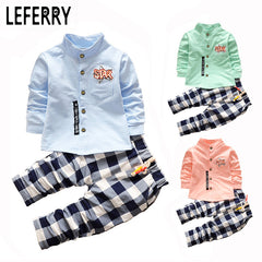 2pcs Cotton Shirt + Plaid Pants Clothing Set