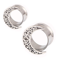 Hollow Moon Stainless Steel Ear Plugs Tunnels Piercing Gauges