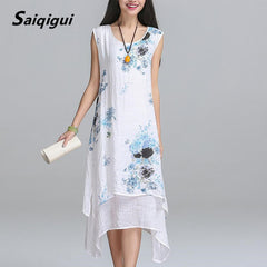 Saiqigui Summer dress New Fashion sleeveless casual cotton Linen Women dress