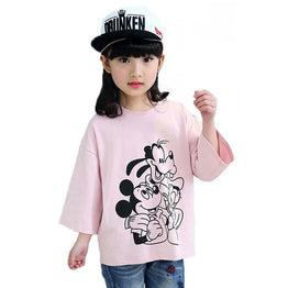 O-neck Cartoon Printed Tees for Girls