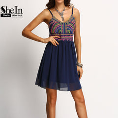 SheIn Print Dresses Boho Women Clothing New Arrival Womens Sexy Summer Sundresses