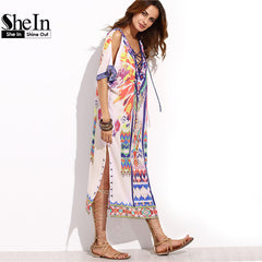 SheIn Boho Woman Summer Beach Dresses Crisscross Front V Neck Midi Dress