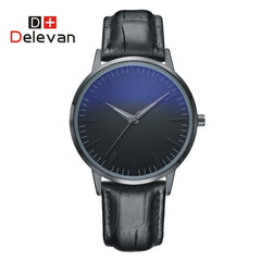 DELEVAN 1128 Ultra Thin Stainless Steel Mesh Band Quartz Wristwatch