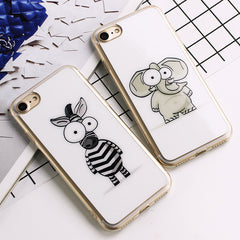 Cute Cartoon Elephant Zebra Pattern Silicon Soft TPU Case for iPhone 7/7 Plus 6/6s 6 Plus/6s Plus