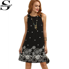 Sheinside Ladies Vintage Boho Summer Dress Black Polka Dot Print