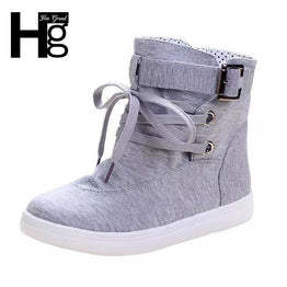 HEE GRAND Solid Buckle Canvas Women Boots