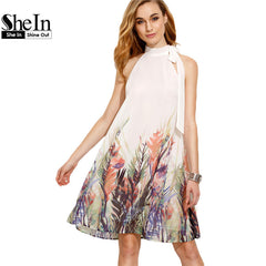 SheIn Casual Woman Boho New Summer Style Beige Print Bow High Neck Sleeveless Straight Dress