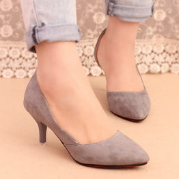 Velvet Thin Heels Pointed Toe Shoes