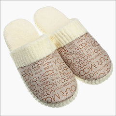 Autumn Winter Warm Cotton-padded  Indoor Plush Slippers