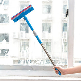 Double Side Glass Wiper / Window Cleaner with Long Handle Rotatable Cleaning Brush