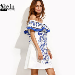 SheIn Summer Beach Dresses For WomanRuffle Off The Shoulder Shift Dress
