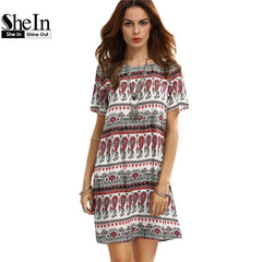 SheIn Casual Dresses For Woman Summer Bohemian Multicolor Short Sleeve Shift Dress