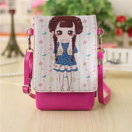 PU leather mini cartoon characters messenger pouch
