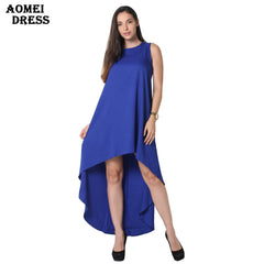 AOMEI DRESS Loose Flare Tunic Female Sleeveless Beachwear Boho Gowns Dresses