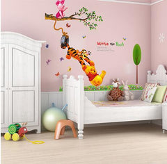 Pooh tree Animal Cartoon Vinyl Wall stickers for kids rooms Home decor