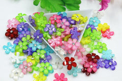 100pcs/lot flat back resin small size flowers mix colors  DIY 12mm