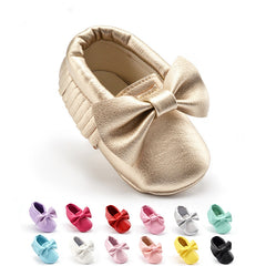 Soft Soled PU Leather Crib Shoes with Bow for Baby