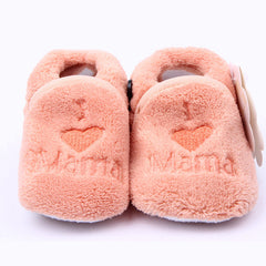 Embroidered I Love Mama Coral Fleece Winter Baby Shoes for Newborn